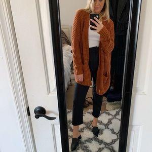 Pumpkin knitted cardigan